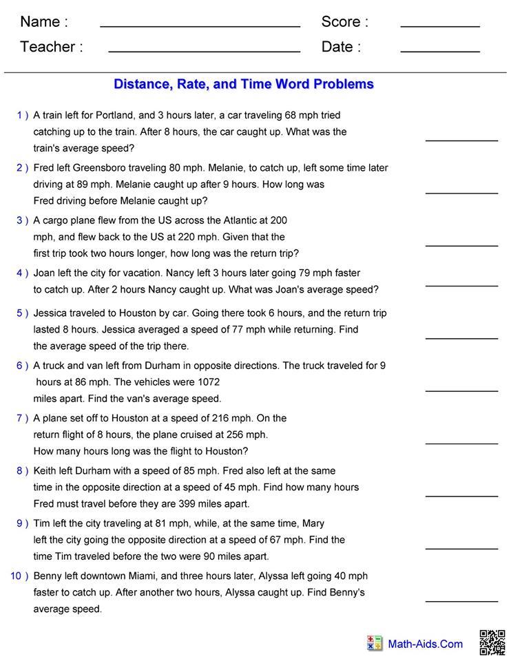 Distance Rate Time worksheet 1   Hoeden Homeschool Support