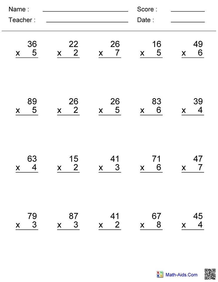 Double Digit Multiplication Worksheet 1   Hoeden at Home