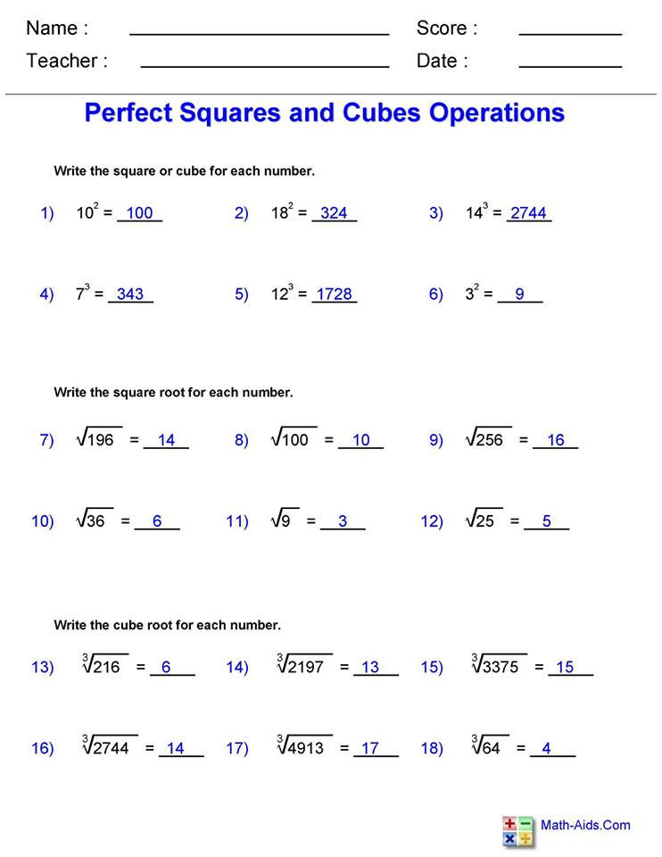 Square and Cube Roots worksheet 1 answers   Hoeden ...