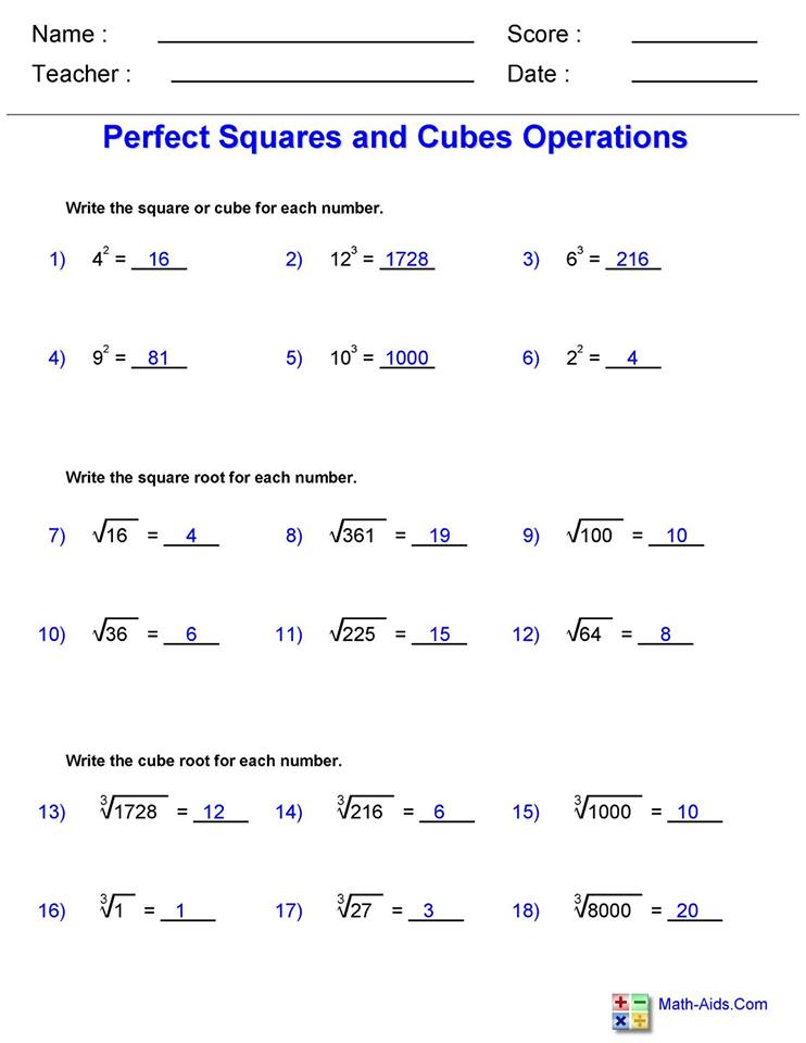 Square and Cube Roots worksheet 3 answers   Hoeden at Home