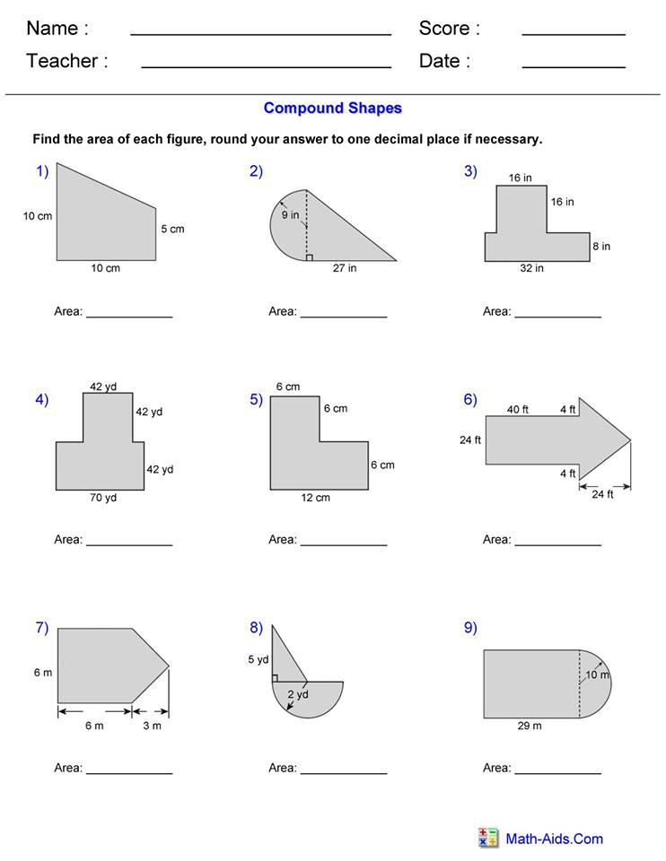 Area Compound Shape worksheet 1   Hoeden at Home