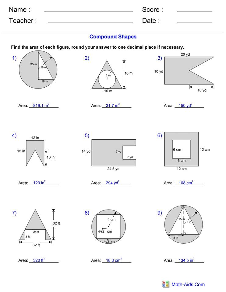 Area Compound Shape worksheet 3 answers - Hoeden at Home
